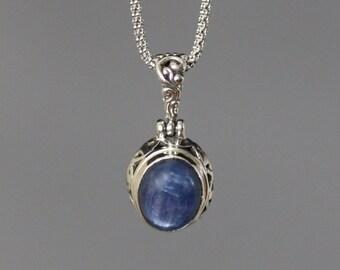 Kyanite Necklace - Bali Silver Pendant - Blue Kyanite Pendant - Filigree Pendant - Bali Silver Necklace - Blue Gemstone Necklace - Gift