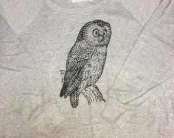 Womens Owl Tri Blend sweatshirt long sleeve pullover raglan shirt-- american apparel S M L -- (1 Color Options) skip n whistle