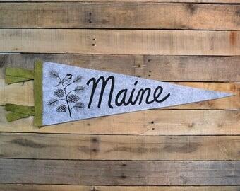 MAINE Pinecone & Chickadee Pennant on Gray Wool