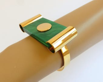 1970s does Art Deco goldtone and green lucite slab bangle, Jakob Bengel style