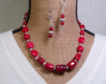 Natural AAA Red Sea Coral, .925 Sterling Silver Necklace and Earrings