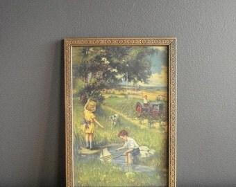 30% off SALE Gorgeous Gold Flower Frame - Vintage Picture Frame - Carved Detail - Vintage Farm Illustration