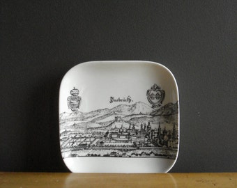 Vintage Insbruck Souvenir Plate - Square Black and White Insbruck City Scene - Made in Germany