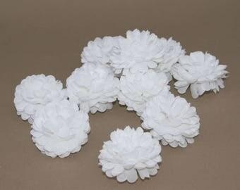 Pure White Blue Pom Pom Carnations - 25 count - Artificial Flowers, Silk Flowers
