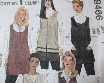 McCall's 9466 Vest Pattern, Uncut, Sizes Small, Medium, Large, 8-18