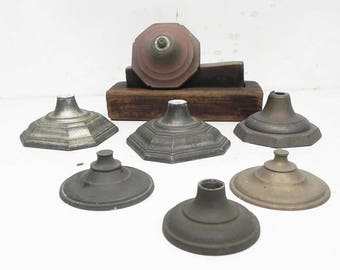 7 Salvaged Vintage Candle Holder Bases Parts Repurpose Assemblage Steampunk Craft Lamp Supply
