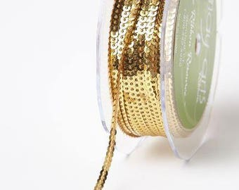 Sequin Ribbon - Gold - 1/8 inch  - You Choose Yards