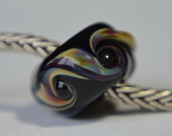 Unique Black Handmade Lampwork Glass European Charm Bead - SRA - Fits all charm bracelets - Silver Core Options