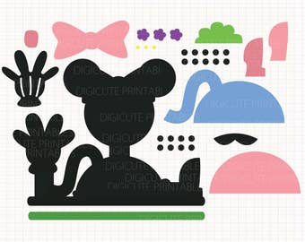 Disney Inspired Minnie Mouse Clubhouse Layers Digital CLIP ARTS personal and commercial use for invitations, cupcake toppers, cards