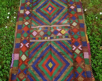 "Gazi Colourful Runner hand woven flatweave Rug/Kilim/Tapis 7 ft x 2 ft 6"" 212 x 75 cm"
