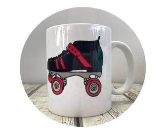 Roller Derby Gift, Roller Skate Mug, Coffee Cup, Coffee Mug, 11 oz Ceramic Cup, Sublimated Cup, Custom Mug, Personalized Mug, Roller Skater