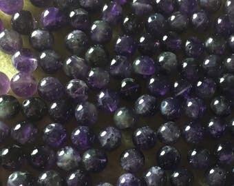 25 x 10mm round Amethyst semi precious beads