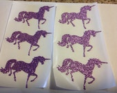 Custom Listing for Juliet   50 pc Lilac Glitter, Light Pink Glitter, and Gold Glitter  Prancing Unicorn Stickers  Party    Invitation Seals
