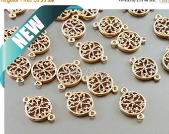 15% SALE 4 small matte rose gold flower filigree charm connectors, coin charms, filigree ...