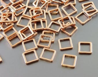 4 SHINY rose gold square shape delicate charms, pink rose gold dainty square pendants, geometric jewelry 1447-BRG-7 shiny rose gold