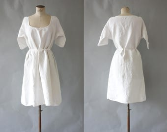 MC dress | White linen peasent dress | 1900 by cubevintage | large