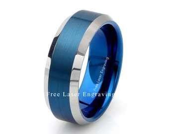 mens tungsten wedding band 8mm polished edge custom engraving anniversary ring blue tungsten ring