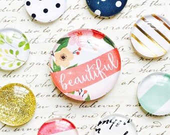 Glass Magnets - Deluxe Magnet Set - Office Supplies - Decorative Magnets - Office - Office Decor - Fridge Magnets - Anthropologie Style