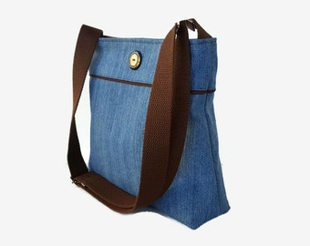 Blue Denim Crossbody Bag Purse - Medium Messenger Bag - Denim Hobo - Womens Handbag - Blue Shoulder Bag