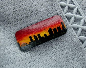 Evening city hand-painted wooden brooch, gift for her, suncet, unique jewelry, one-of-a-kind