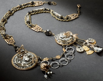 Steampunk Necklace, Couture Necklace with Vintage Pocket Watch, Skeleton Key, Glass Vial, Leaf, Gold Dragonfly Pendant & Black Crystal Beads