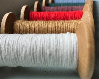 6 Blonde Wood Colorful Thread Spools - Primitive 3 Inch Wooden Bobbins - Set of 6 Rustic Decor
