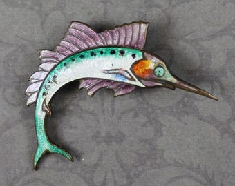 Vintage Purple, Pearl and Green Enameled Swordfish Figural Brooch