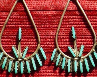 Zuni Sterling Silver Petit Point / Needlepoint Turquoise Dangle Earrings