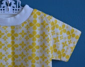 Vintage Yellow and White Floral Print Ringer Shirt - Size 24 Months 2T