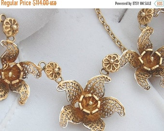 Holiday Christmas SALE Beautiful Silver Gold Filigree Flower Vintage Necklace