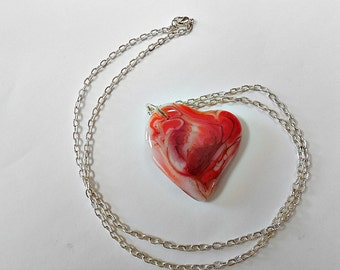 red and white fused glass heart pendant and chain