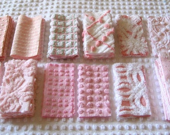 Six Inch Quilt Squares - Vintage Chenille Bedspread Fabrics - Pinks and Whites (39)