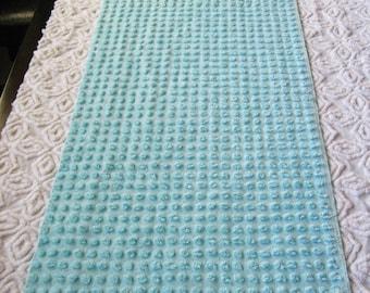 "Aqua 3/8"" Cotton Pops  Vintage Chenille Bedspread Fabric 16"" x 21.5"""