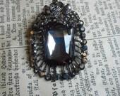 Vintage Smoky & Marcasite Crystal Brooch. Edwardian ornate pin