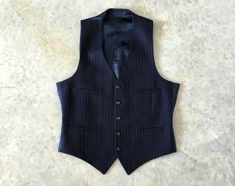 navy blue chalk stripe mens vest - 1211391