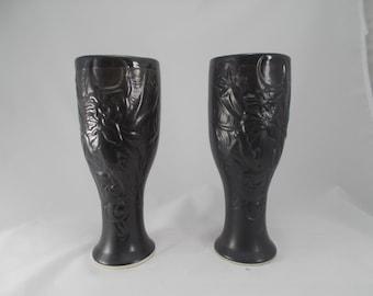 ON SALE! -Pair of Dragon Pilsner Mugs - Tankard - Black Dragon mug - Great gift for boyfriends and holidays