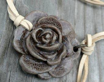 Antique Rose boho leather choker necklace