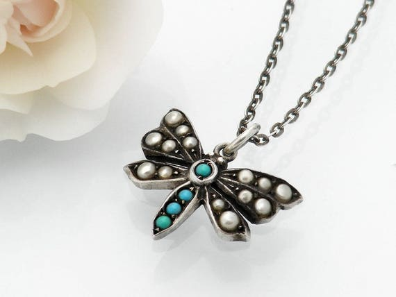 Victorian Butterfly Pendant | Sterling Silver Turquoise, Seed Pearl Antique Necklace | Bridal Gift, Something Old - 16.5 Inch Sterling Chain