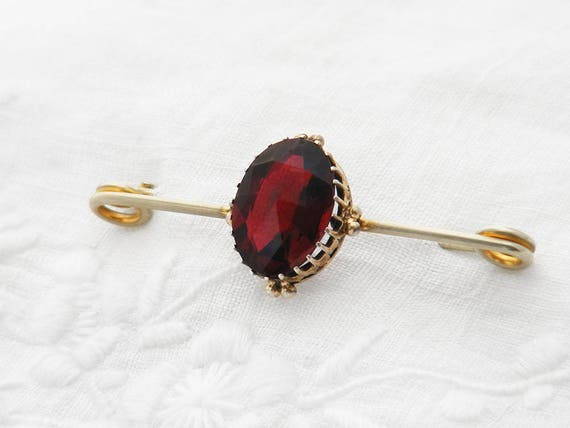 Victorian Ruby Glass Brooch | Faceted Ruby Red Glass Antique Pin, Victorian Lace Pin, Cravat Pin | Dog Tooth Setting Brooch - Bouquet Pin