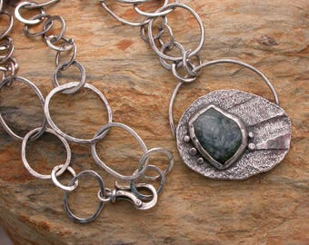 Recycled silver with blue Tourmaline necklace Artisan Jewelry