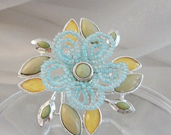 ON SALE Vintage Flower Brooch. Beaded. Baby Blue. Faceted Yellow. Moss Green Pin.