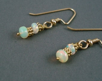 Opal Earrings, Ethiopian Fire Opals and Gold Beads and Wires, Extreme Fire Opals, Opal Jewelry