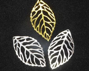 Use TAKE10 for 10% off! 2 pieces Bali Sterling Silver OR 24kt Gold Vermeil Filigree Leaf Charms, 25mm x 14.5mm, 0.7mm thick, Artisan-made