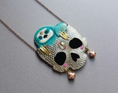 Teal Sloth Skull Necklace