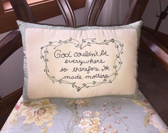 Primitive Mother's Day  Mom Blessing Embroidery Stitchery Embroidery  Pillow