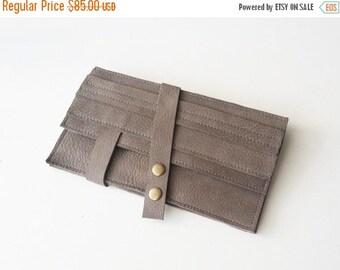 SALE Gray wallet - leather women wallet