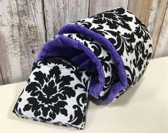 Camera Strap Cover in Black & White Damask with Purple Minky