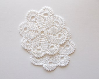 Crochet Doilies White Cotton Lace with Scalloped and Pico Edge Heirloom Quality 2 pieces