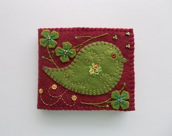 Needle Book Brown Felt Needle Keeper with Green Folk Art Bird and Hand Embroidered Felt Flowers and Swirls Handsewn