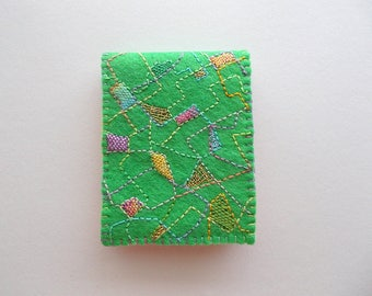 Needle Book Spring Green Felt Needle Case with Abstract Embroidery Handsewn One of a Kind